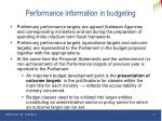 performance information in budgeting