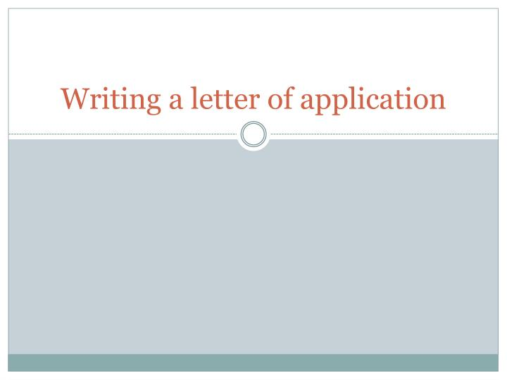 writing a letter of application n.
