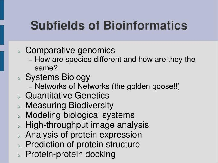 Subfields of Bioinformatics