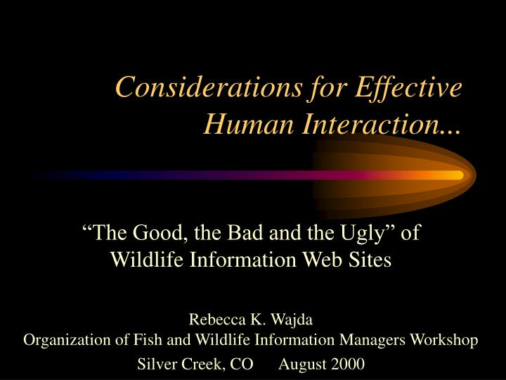 considerations for effective human interaction n.
