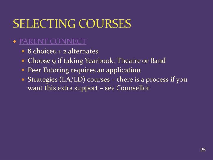 SELECTING COURSES