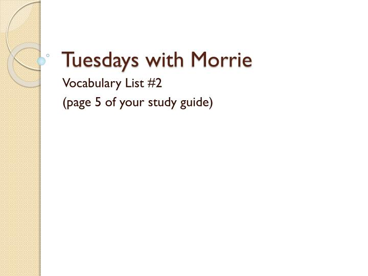 tuesdays with morrie n.