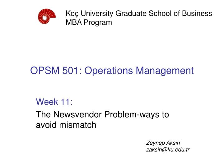 opsm 501 operations management n.