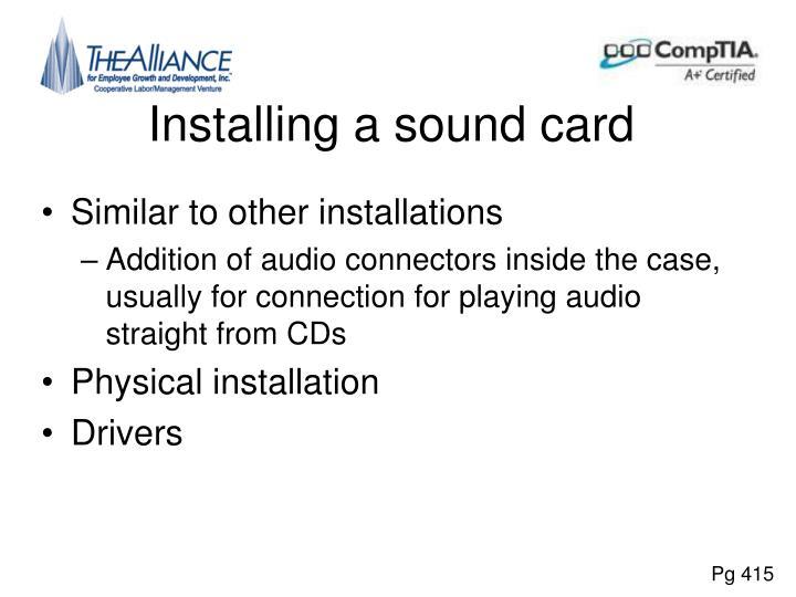 Installing a sound card