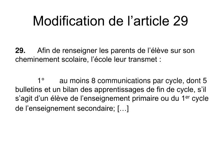 Modification de l'article 29