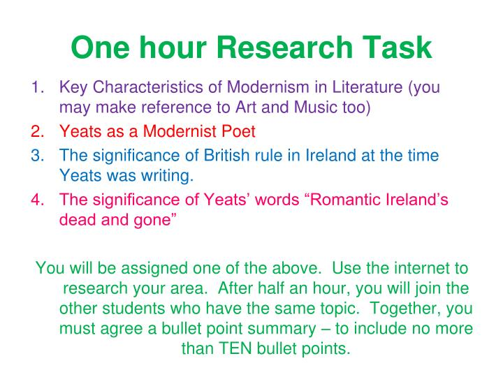 One hour research task