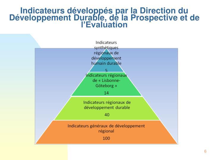 Indicateurs développés par la Direction du Développement Durable, de la Prospective et de l'Evaluation