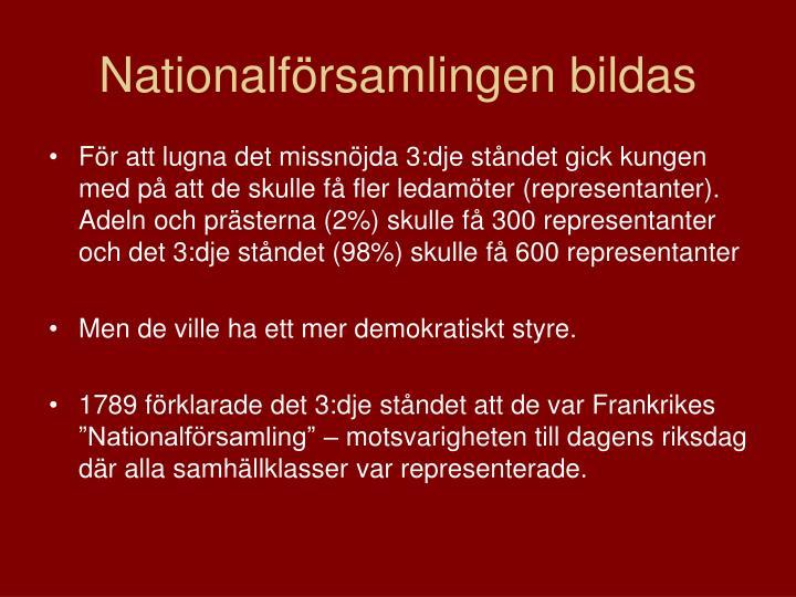 Nationalförsamlingen bildas