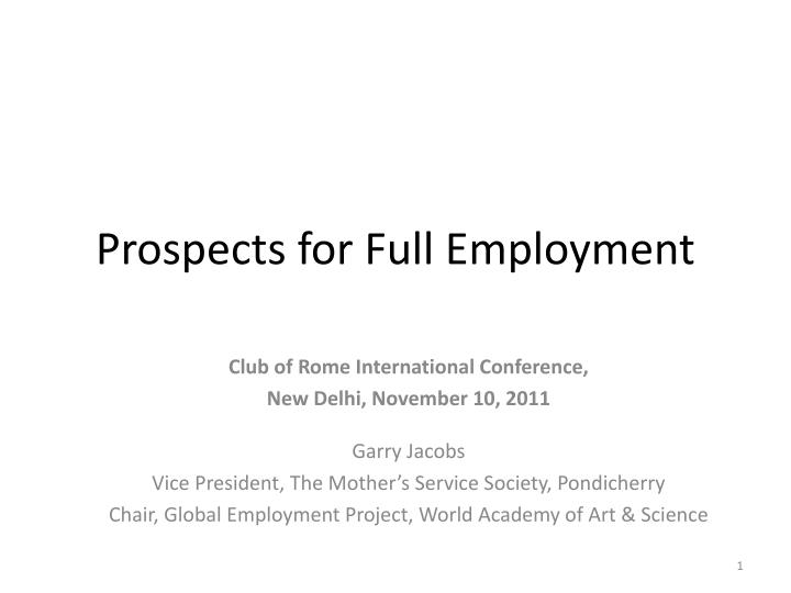 prospects for full employment n.