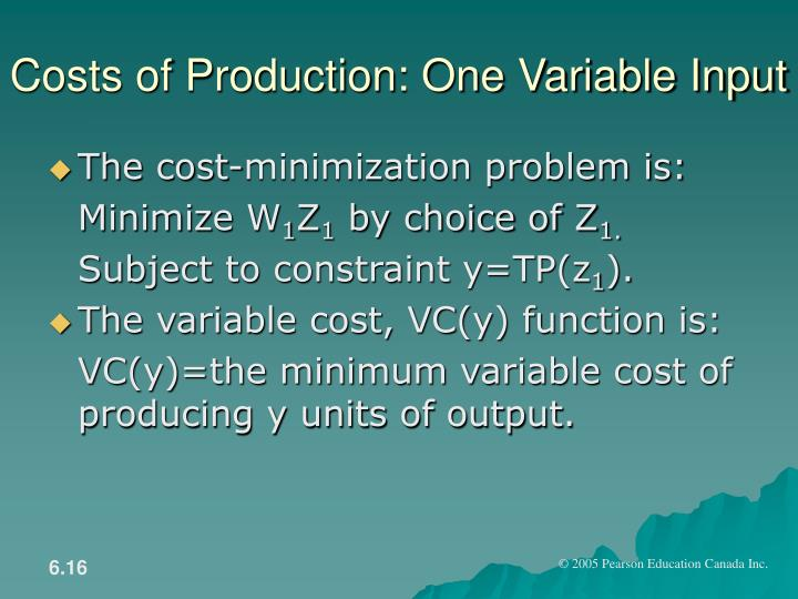 Costs of Production: One Variable Input