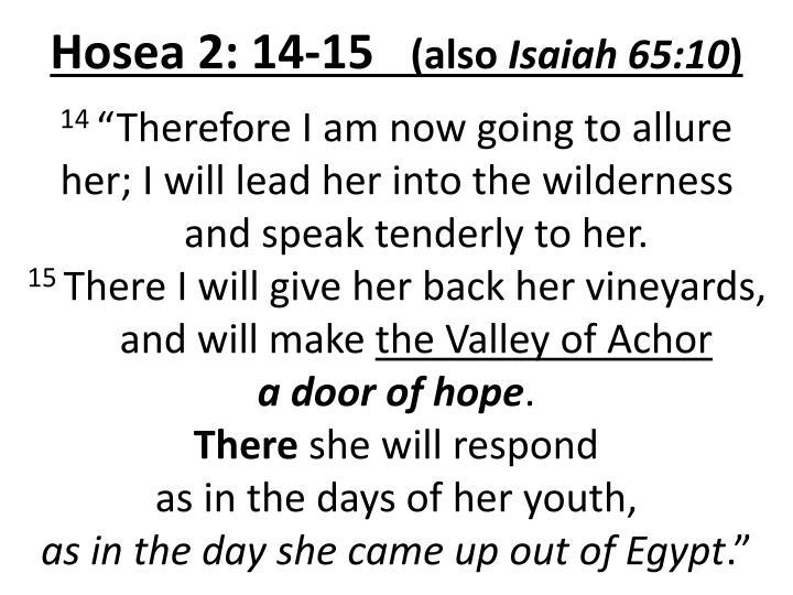 Hosea 2: 14-15