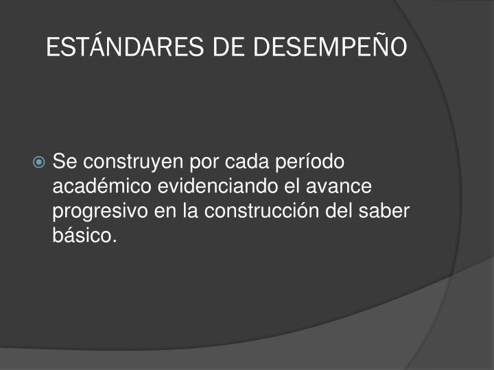 ESTÁNDARES DE DESEMPEÑO