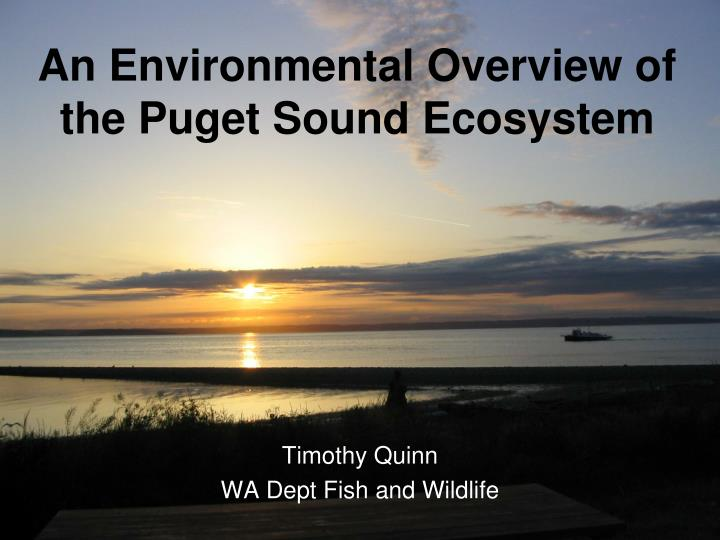 an environmental overview of the puget sound ecosystem n.