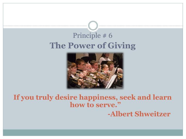 Principle # 6