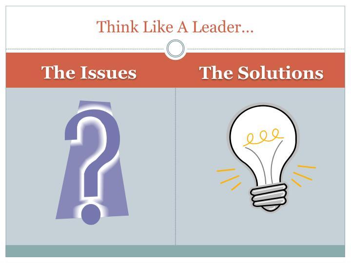 Think Like A Leader…