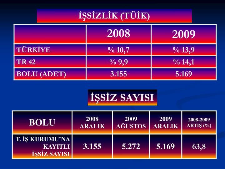 İŞSİZLİK (TÜİK)