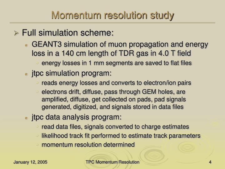 Momentum resolution study