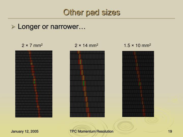Other pad sizes