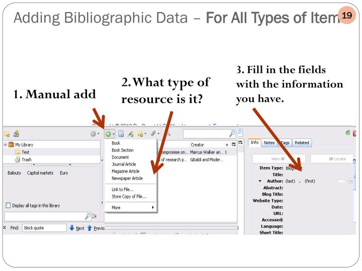 Adding Bibliographic Data –