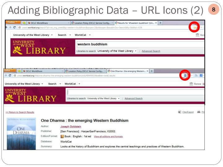 Adding Bibliographic Data – URL Icons (2)