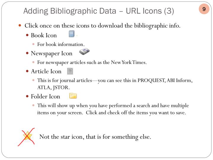 Click once on these icons to download the bibliographic info.