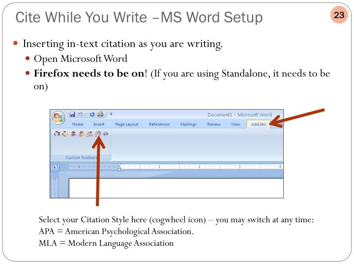Inserting in-text citation as you are writing.