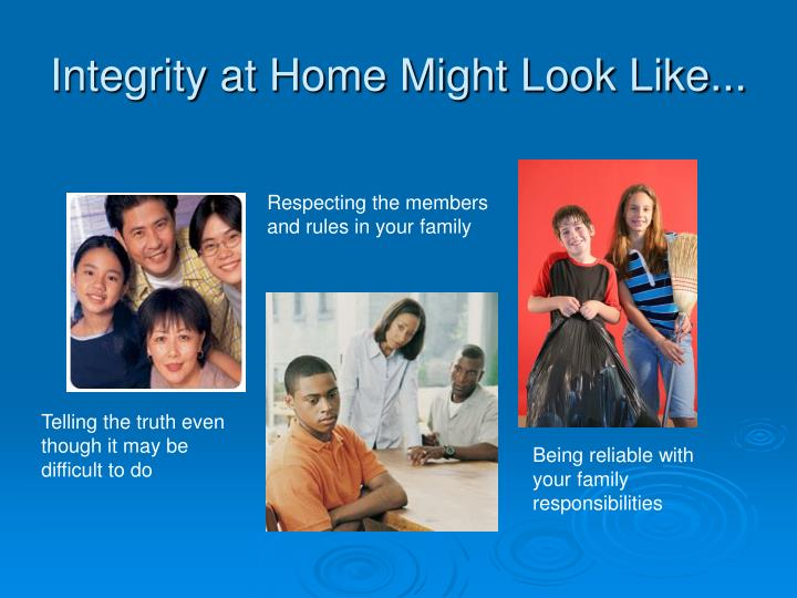 Integrity at Home Might Look Like...