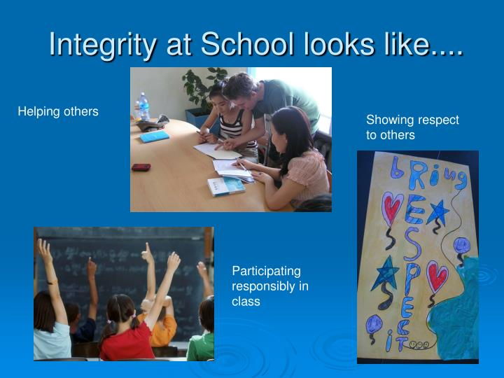 Integrity at School looks like....