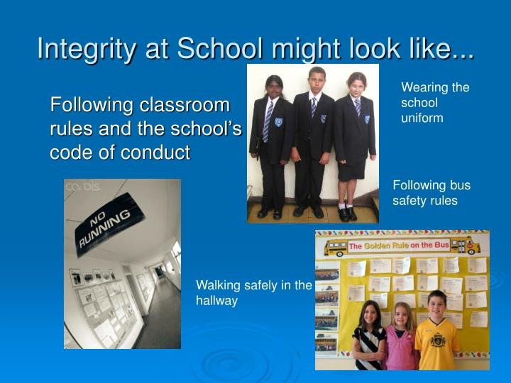 Integrity at School might look like...