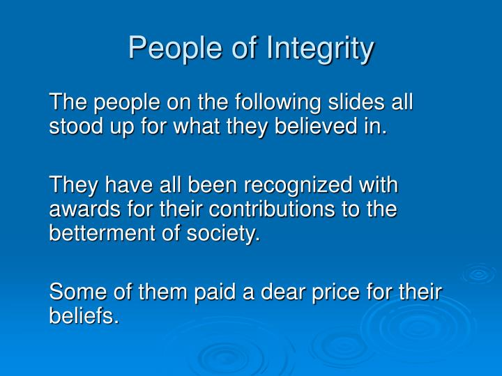 People of Integrity