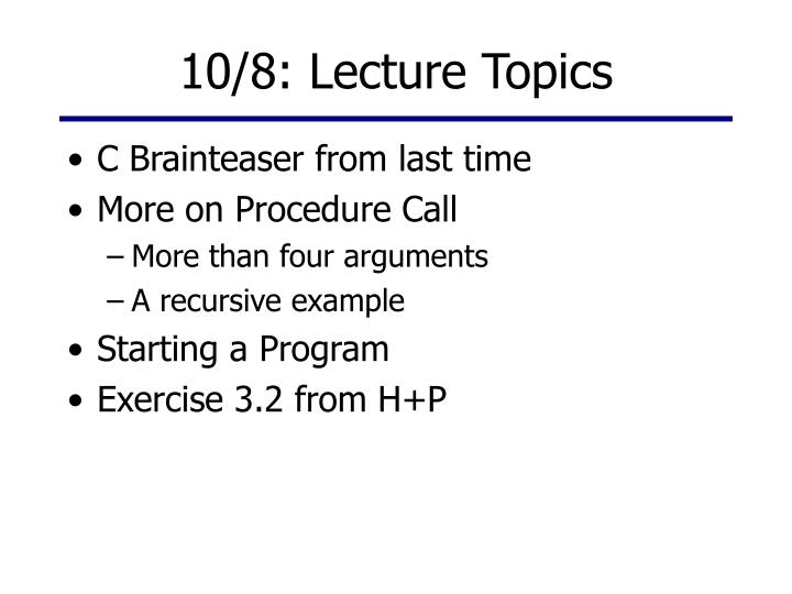10 8 lecture topics n.