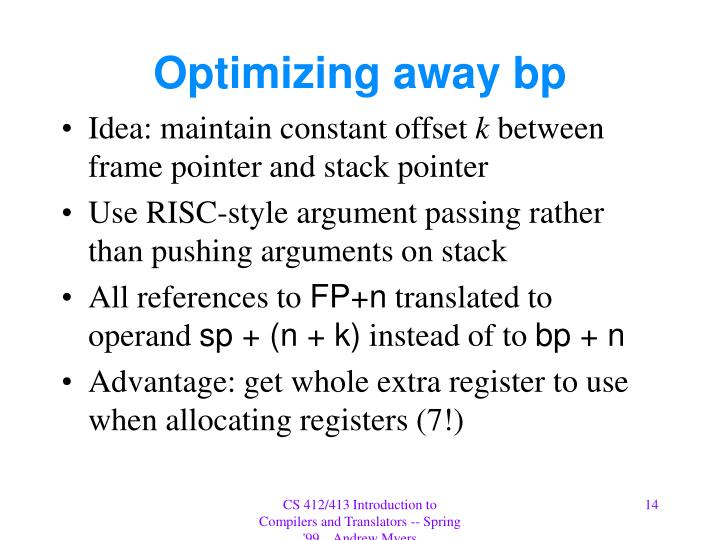 Optimizing away bp
