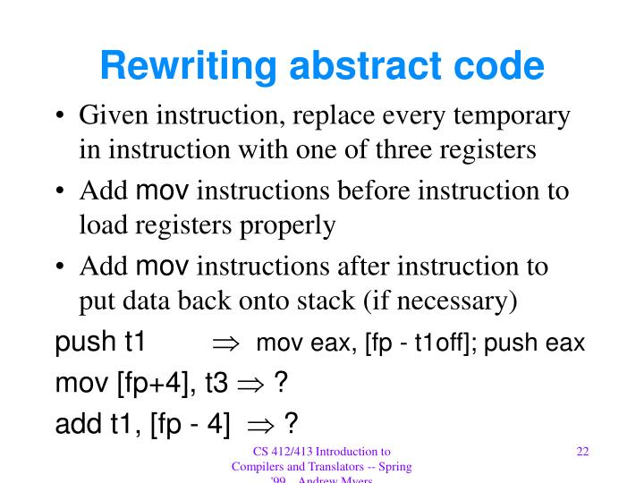Rewriting abstract code