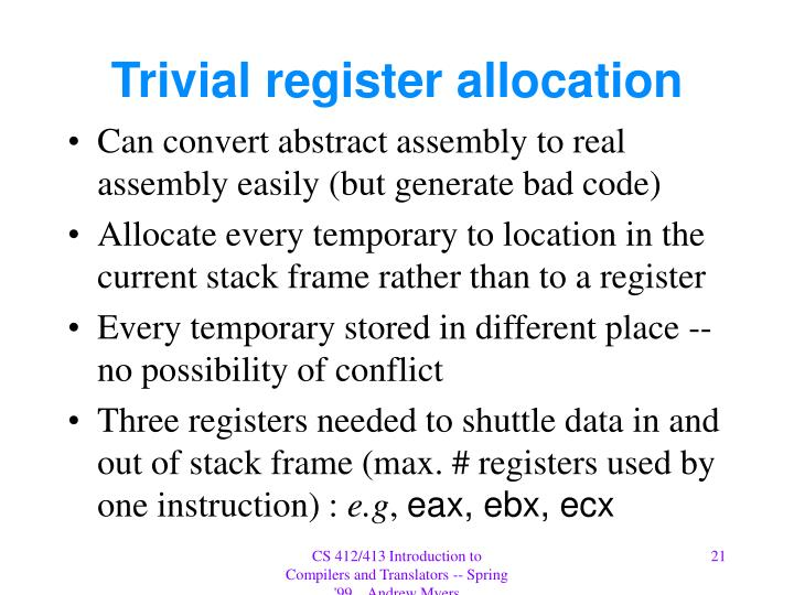 Trivial register allocation
