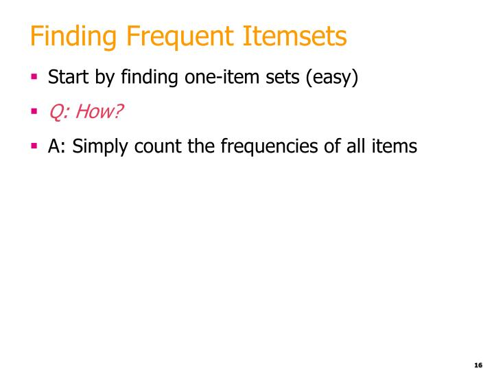 Finding Frequent Itemsets