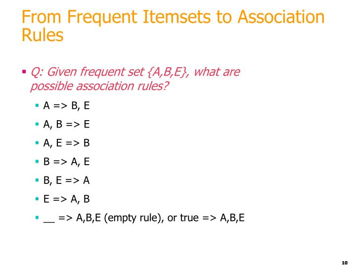 From Frequent Itemsets to Association Rules