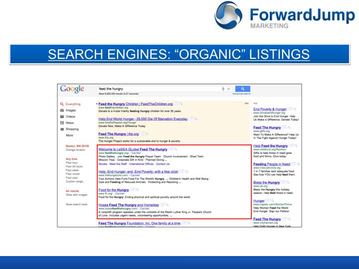 """SEARCH ENGINES: """"ORGANIC"""" LISTINGS"""
