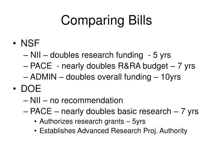 Comparing Bills