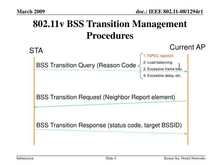 802.11v BSS Transition Management Procedures