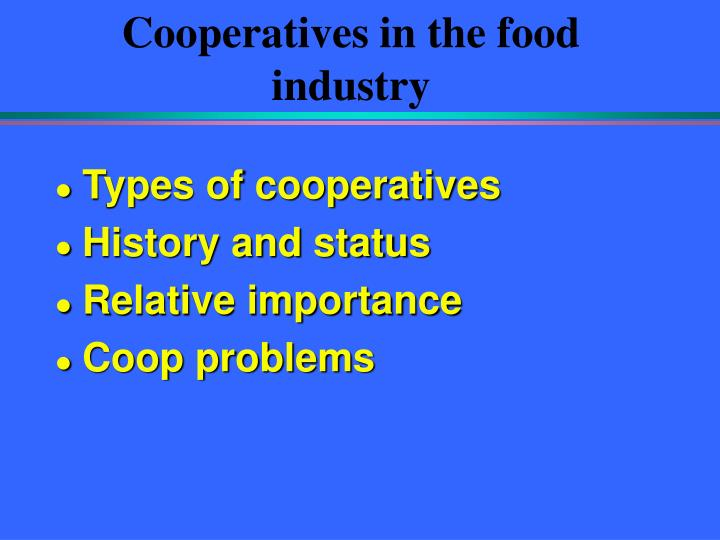 cooperatives in the food industry n.