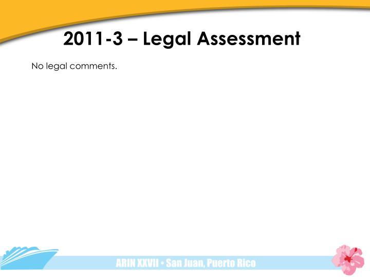 2011-3 – Legal Assessment