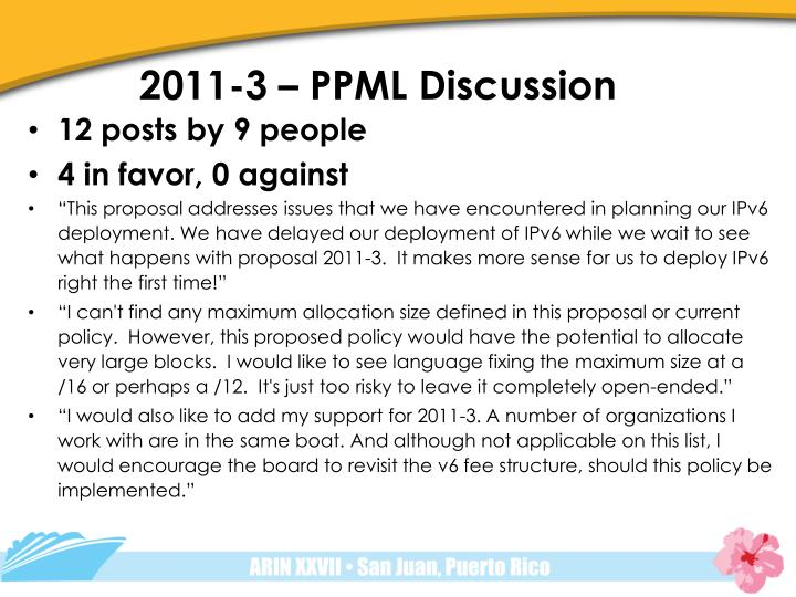 2011-3 – PPML Discussion
