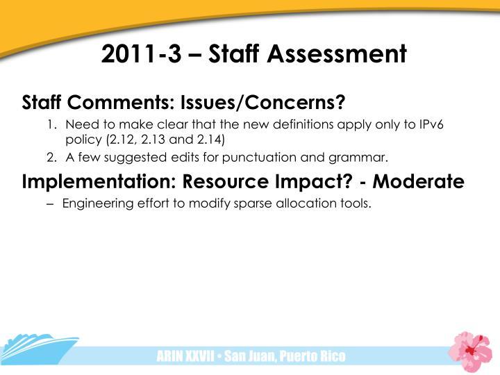 2011-3 – Staff Assessment