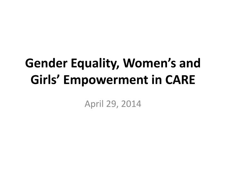 gender equality women s and girls empowerment in care n.