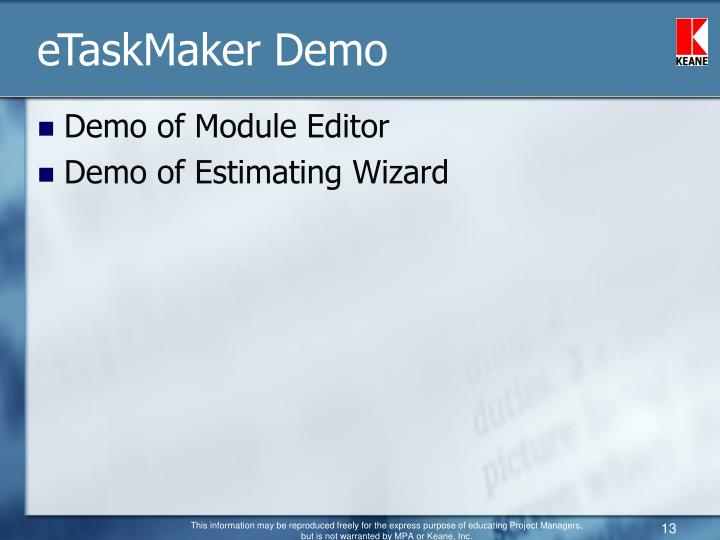 eTaskMaker Demo