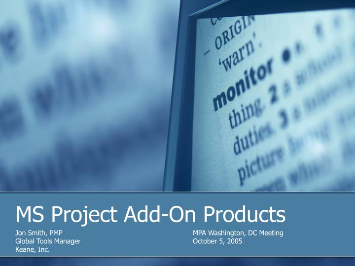 Ms project add on products