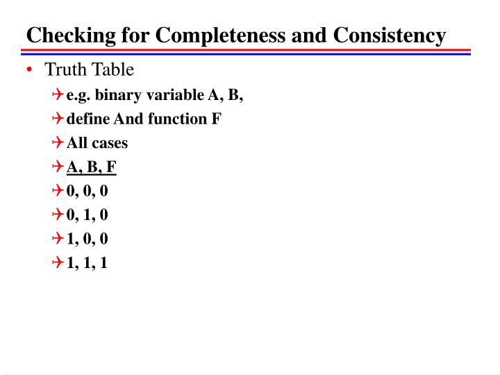 Checking for Completeness and Consistency