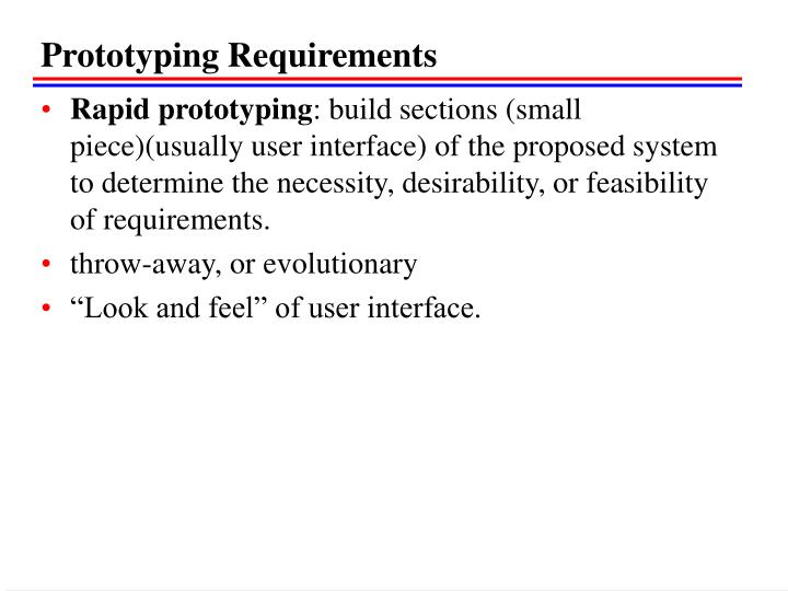 Prototyping Requirements