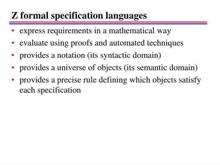 Z formal specification languages