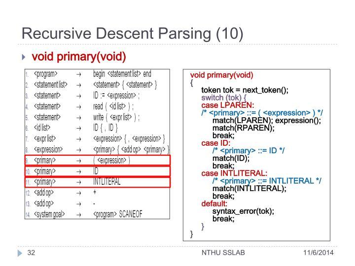 Recursive Descent Parsing (10)